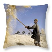 Winnowing Wheat In Iran Throw Pillow