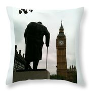 Winston Churchill Facing Big Ben Throw Pillow