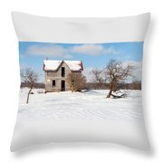 Winter Abandoned Farmouse Throw Pillow
