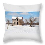 Winter Abandoned Farmouse Throw Pillow