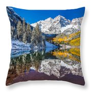 winter and Fall foliage at Maroon Bells Throw Pillow