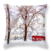 Winter Arrives Watercolor Throw Pillow