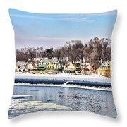 Winter At Boathouse Row In Philadelphia Throw Pillow by Simon Wolter