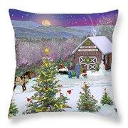 Winter At Campton Farm Throw Pillow