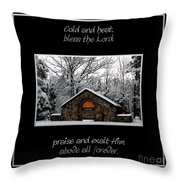 Winter At Chestnut Ridge Park Cold And Heat Bless The Lord Praise And Exalt Him Above All Forever Throw Pillow