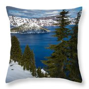 Winter At Crater Lake Throw Pillow