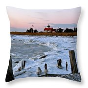 Winter At East Point Lighthouse  Throw Pillow