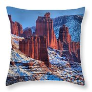 Winter At Fisher Towers Throw Pillow