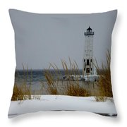 Winter At Frankfort Lighthouse Throw Pillow
