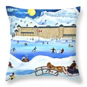 Winter At Lake Louise Chateau Throw Pillow