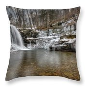 Winter At Lewis Falls Throw Pillow