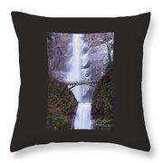 Winter At Multnomah Falls Throw Pillow