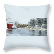 Winter At Phelps Mill Throw Pillow