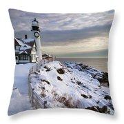 Winter At Portland Head Throw Pillow