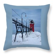 Winter At South Haven Lighthouse Throw Pillow