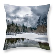 Winter At Swinging Bridge Throw Pillow