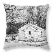 Winter At The Amish Schoolhouse - Bw Throw Pillow