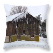 Winter At The Barn Throw Pillow