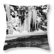 Winter At The Creek Monochrome Throw Pillow