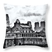 Winter At The Fairmount Waterworks In Black And White Throw Pillow