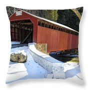Winter At The Little Gap Covered Bridge Throw Pillow