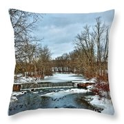 Winter At The Mattabeset River Throw Pillow