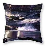 Winter At The Woodlands Waterfall In Wilkes Barre Throw Pillow