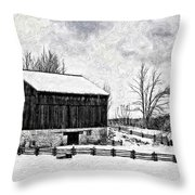 Winter Barn Impasto Version Throw Pillow