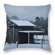 Winter Barn Throw Pillow by Nelson Watkins