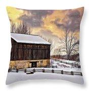 Winter Barn - Paint Throw Pillow