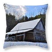 Winter Barn Throw Pillow by Susan Leggett