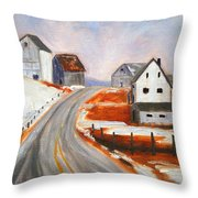 Winter Barns Throw Pillow