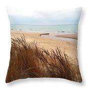 Winter Beach At Pier Cove Throw Pillow