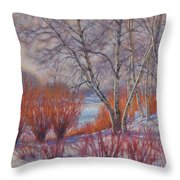 Winter Birches And Red Willows 1 Throw Pillow