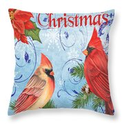 Winter Blue Cardinals-merry Christmas Card Throw Pillow