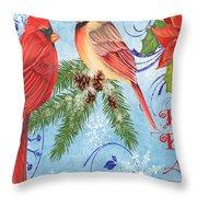 Winter Blue Cardinals-peace Card Throw Pillow