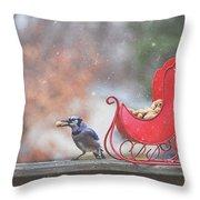 Winter Blue Jay #2 Throw Pillow