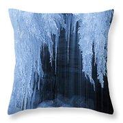 Winter Blues - Frozen Waterfall Detail Throw Pillow