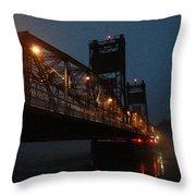 Winter Bridge In Fog 2 Throw Pillow