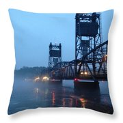 Winter Bridge In Fog Throw Pillow