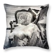 Winter Brocade Throw Pillow