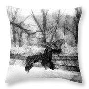 Winter Butterflies Throw Pillow