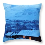 Winter Cabin Arctic Alpinglow Throw Pillow