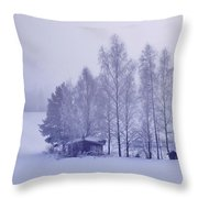 Winter Cabin In The Woods Throw Pillow