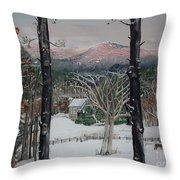 Winter - Cabin - Pink Knob Throw Pillow