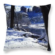 Winter Cathedral Rock Throw Pillow