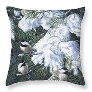 Winter Chickadees Throw Pillow