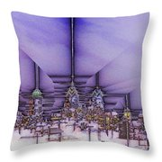 Winter City Throw Pillow
