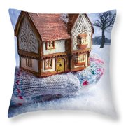 Winter Cottage In Gloved Hand Throw Pillow