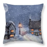 Winter Cottages In Snow Throw Pillow